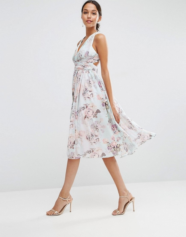 Romantic Floral Print Bridesmaids Dress