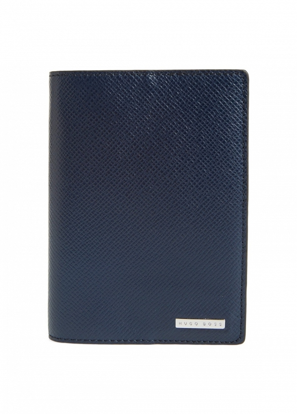 Hugo Boss 'Signature' Navy Passport Cover