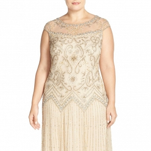Illusion Yoke Embellished Drop Waist Mother of the Bride Dress