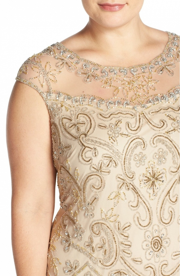 Illusion Yoke Embellished Mother of the Bride Dress