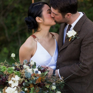 Intimate fall wedding portrait