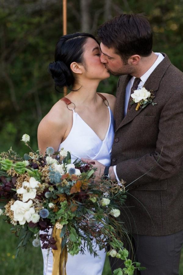 Intimate fall wedding portrait