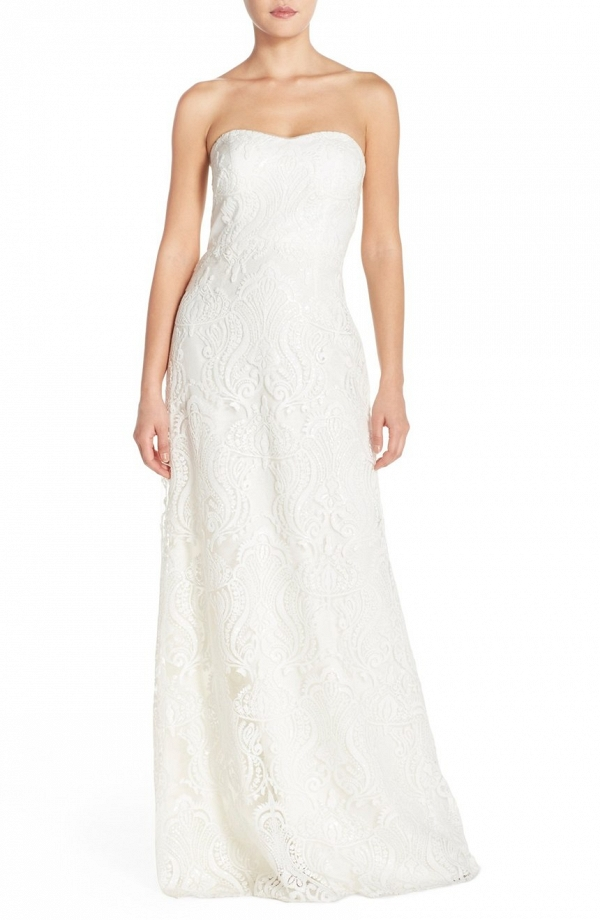 Jenny Yoo 'Sadie' Sequin Lace Strapless A-Line Wedding Dress