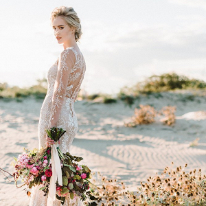 Long Sleeve Boho Wedding Dress with Train