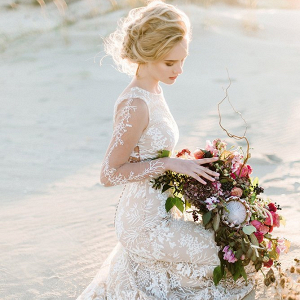 Long Sleeve Boho Wedding Dress with Train