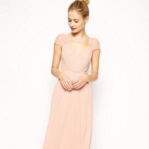 'Kate' Blush Lace Maxi Bridesmaid Dress