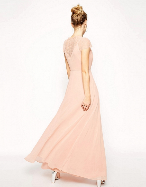 'Kate' Blush Lace Maxi Bridesmaid Dress