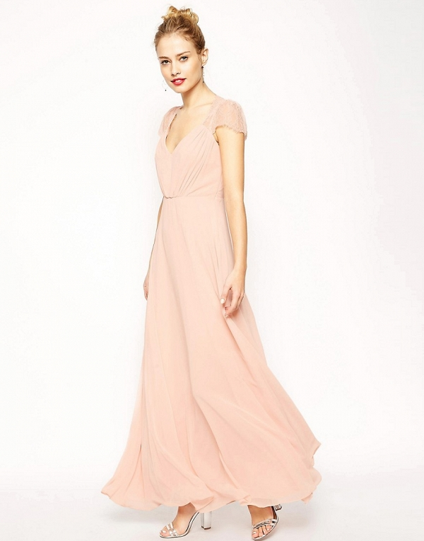 'Kate' Blush Maxi Bridesmaid Dress with Lace Cap Sleeves