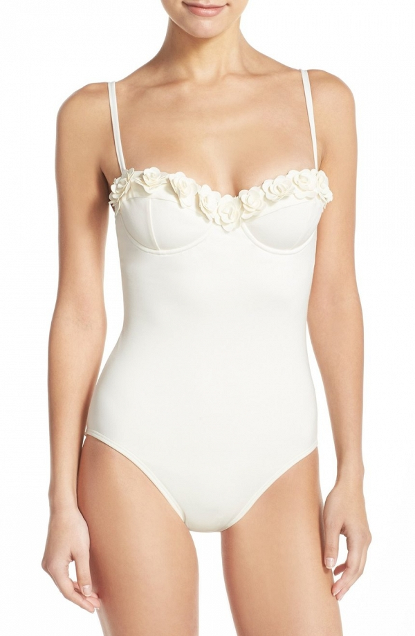 Kate Spade 'Playa de Palma' Floral Appliqué One Piece Swimsuit