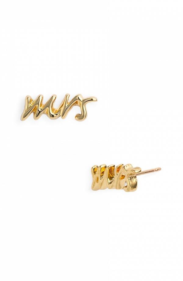 Kate Spade 'Say Yes - Mrs' Stud Earrings