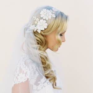 Lace Rose Adorned Juliet Cap Wedding Veil by Veiled Beauty | Photography by Kurt Boomer | As seen on @aislesociety