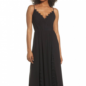 Lace Chiffon Black Maxi Dress