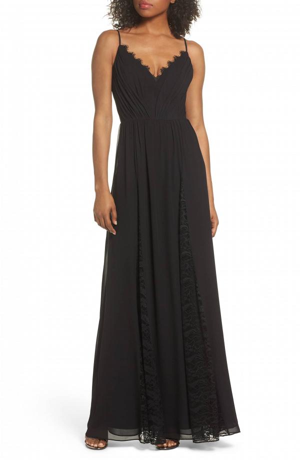 Lace Chiffon Black Maxi Dress