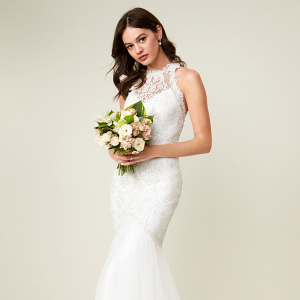 Tadashi Shoji Halter Neck Mermaid Wedding Dress