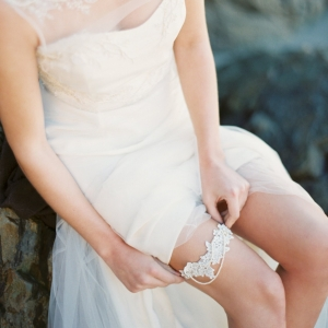 Lace, Pearl and Crystal Wedding Garter - Style 9615 by Melinda Rose Design | As seen on @aislesociety