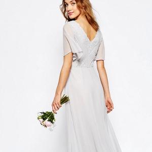 Gray Maxi Boho Bridesmaid Dress