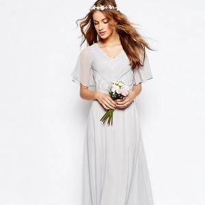 Grey Maxi Boho Bridesmaid Dress