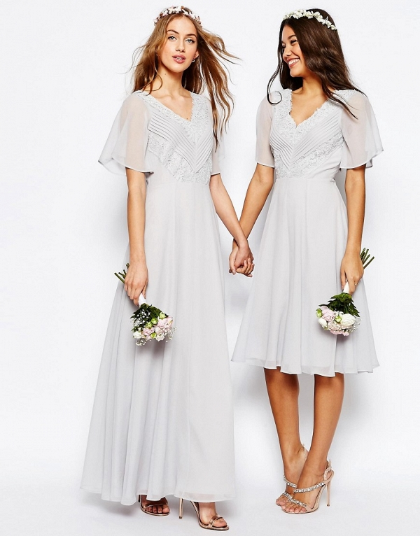 Lace & Pleat Maxi Boho Bridesmaid Dresses