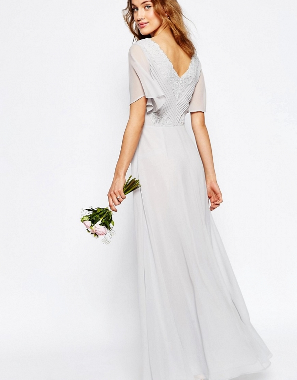 Gray Maxi Boho Bridesmaid Dress