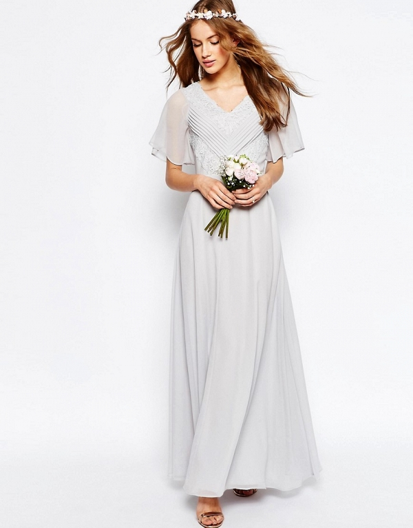 Grey Maxi Boho Bridesmaid Dress