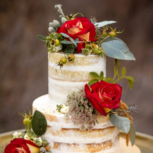 Semi naked wedding cake with red flowers