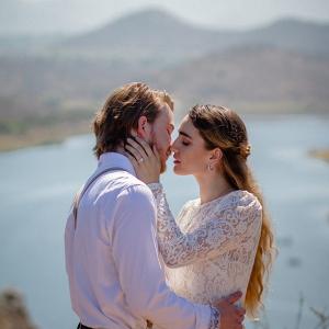 Mountainside wedding portrait