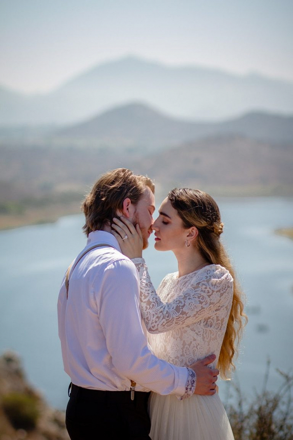 Mountainside wedding portrait