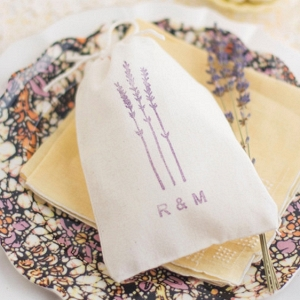 Sweet Hand Stamped Lavender Wedding Favour Bags