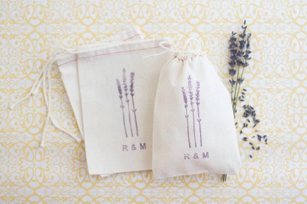 Hand Stamped Lavender Favor Bags