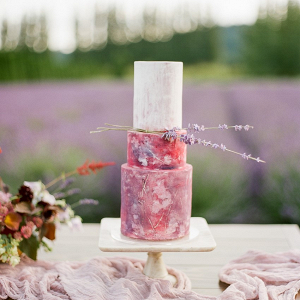 Pink painted wedding cake