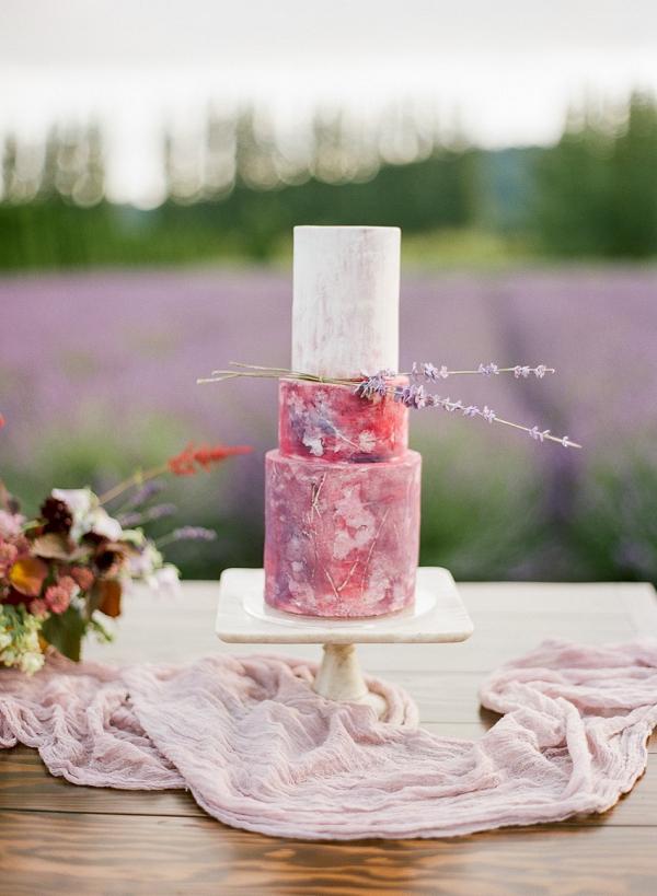 Pink painted wedding cake