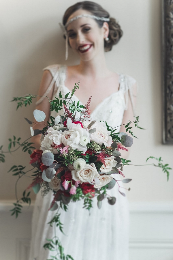 Romantic Art Deco Bridal Bouquet of Roses