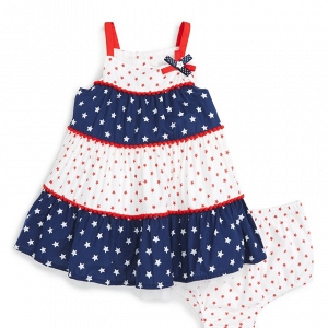 Little Me 'Patriotic' Tiered Flower Girl Dress