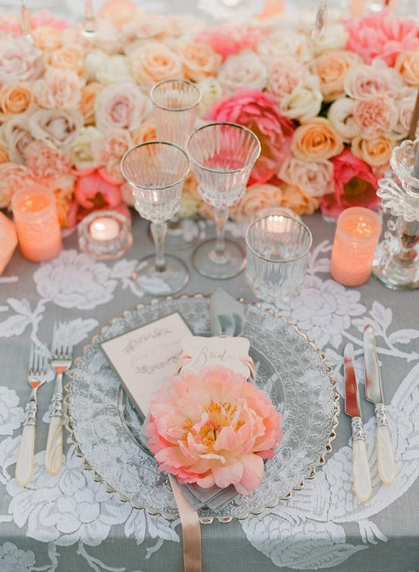 Coral and pink wedding place setting