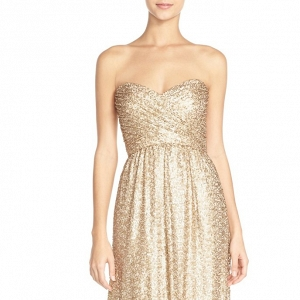'London' Sequin Tulle Strapless Column Bridesmaid Dress