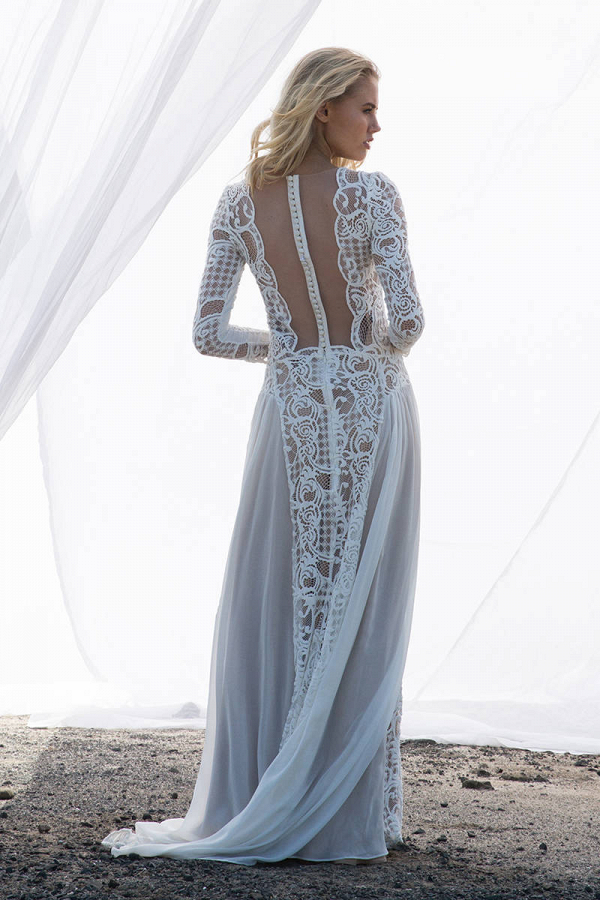 Long Sleeve Wedding Dress Back