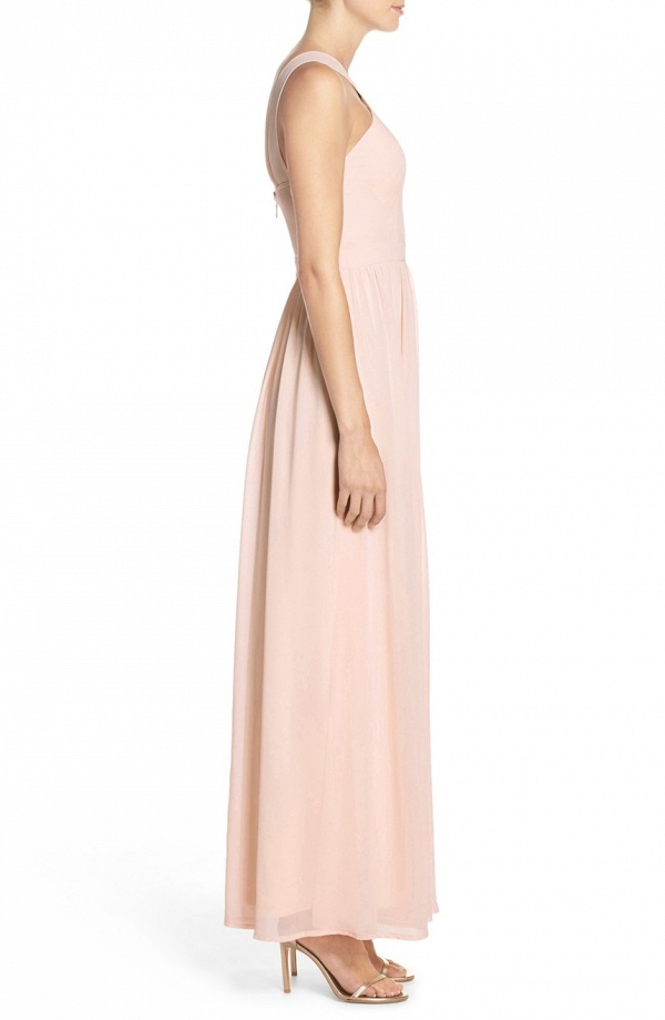 Lulu's Cross Neck A-Line Chiffon Bridesmaid Dress