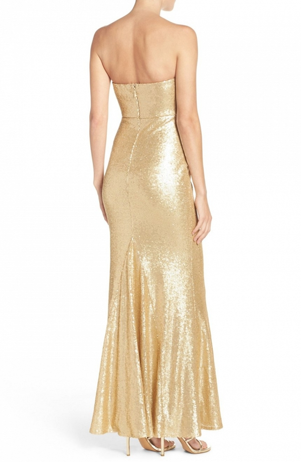 Strapless Sequin Mermaid Bridesmaid Dress