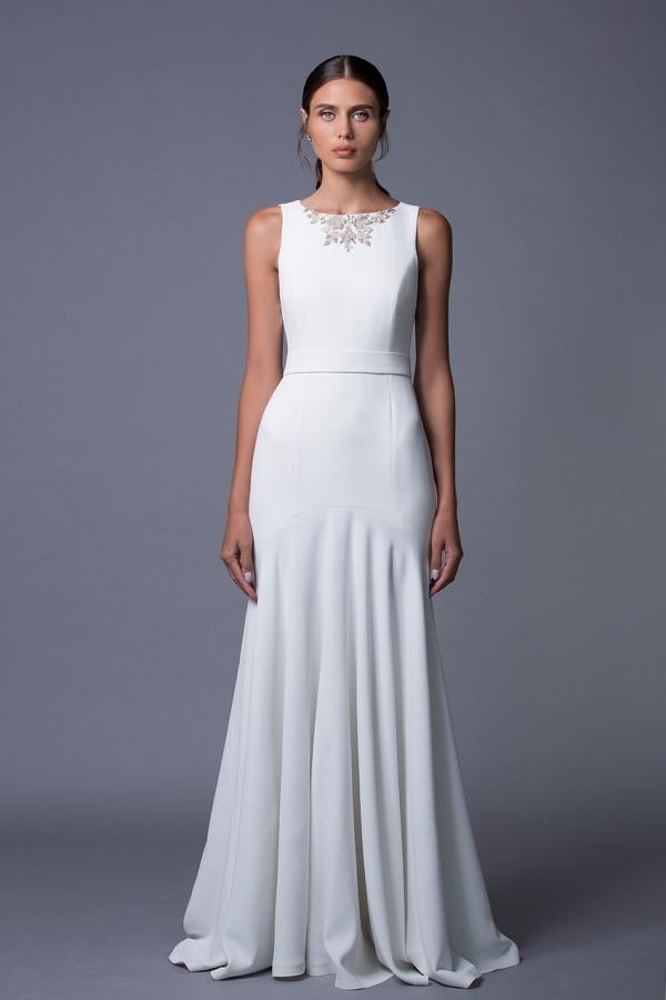 Noa An Elegant Wedding Dress with an Embellished Neckline by Lihi Hod