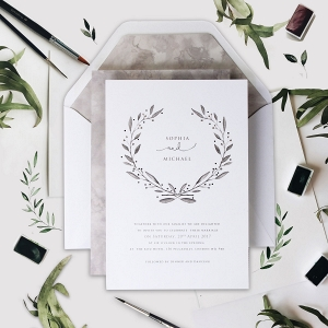 Marble Grey with Silver Foil Watercolor Wedding Stationery