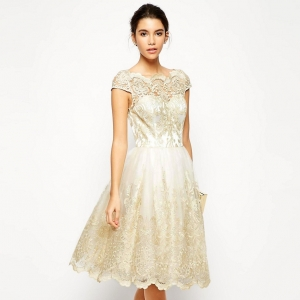 Metallic Lace Bardot Neck Midi Bridesmaid Dress