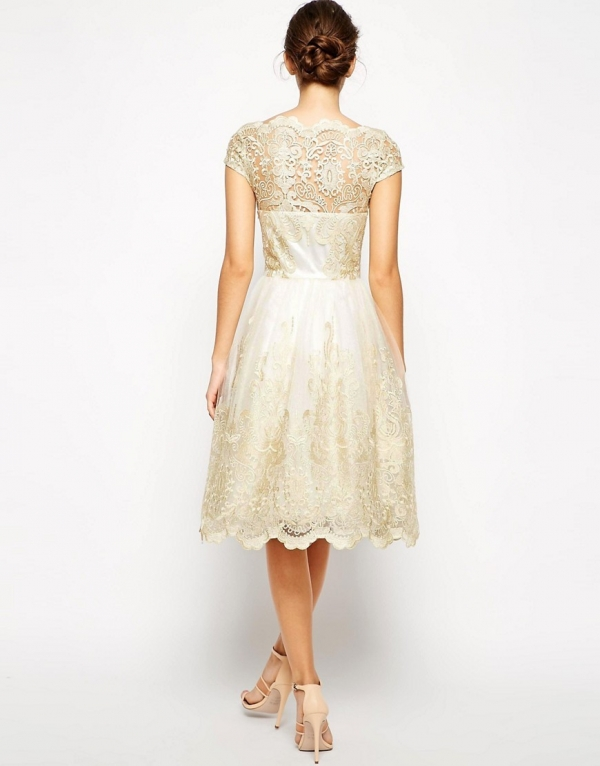 Gold Lace Bardot Neck Tea Length Bridesmaid Dress