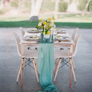 Teal and yellow retro wedding tablescape