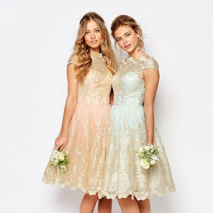 Mint & Peach Lace Midi Bridesmaid Dress