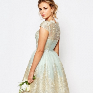 Mint Lace Midi Bridesmaid Dress