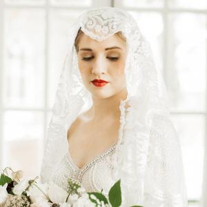 Bride in juliet cap veil