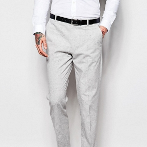 Light Gray Modern Slim-Fit 3 Piece Suit Trousers