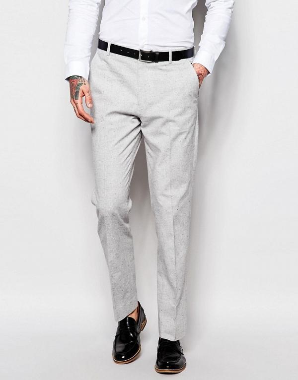 Light Gray Modern Slim-Fit 3 Piece Suit Trousers