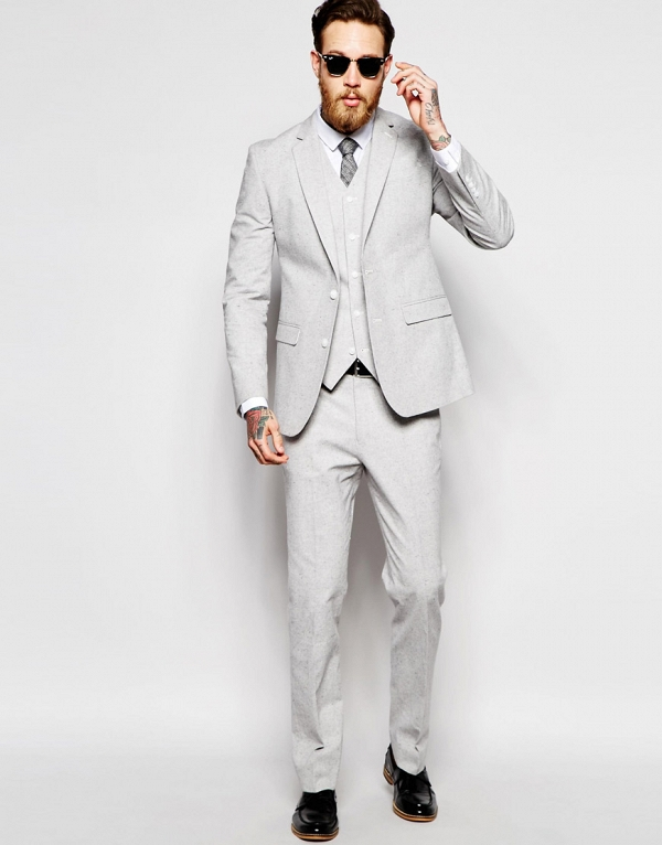 Light Gray Modern Slim-Fit 3 Piece Suit - Aisle Society