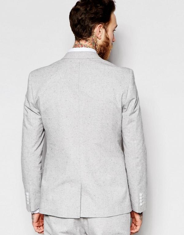 Light Gray Modern Slim-Fit 3 Piece Suit Jacket